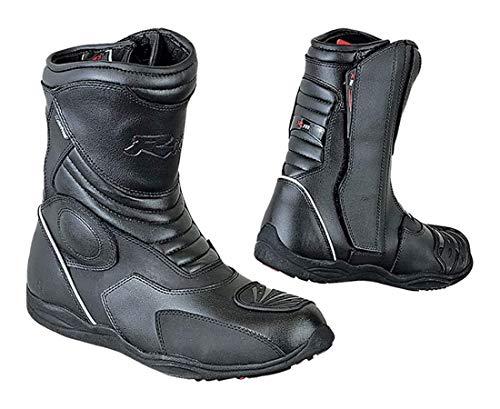 BIESSE - Stivaletti Moto Enduro Touring, in vera pelle, misure dal 39 al 47, impermeabili, colore Nero, Certificati CE (nero, 40)