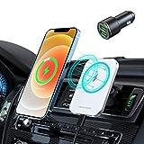 Hinyx Mag-Safe Cargador inalámbrico de coche para iPhone 12/12 Pro Max/12 Pro/12 Mini,Soporte para teléfono inalámbrico magnético rápido de carga de 15 W compatible con funda protectora Mag Safe