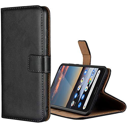 Aopan Nokia 5.3 Hülle, Flip Echt Ledertasche Handyhülle Brieftasche Schutzhülle für Nokia 5.3, Schwarz
