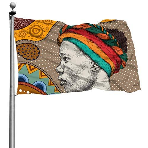 Mesllings Yard bandera Stand colorido arte de moda mujeres africanas decoración bandera bandera impresión 4 x 6 pies (120 x 180 cm) poliéster con ojales decoraciones interiores/exteriores