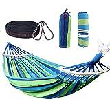 Nakeey Hamac, Double Hamac Portable Outdoor Hamac pour Camping Randonnée Pédestre Jardin Voyage,300Kg, Rayures Bleues