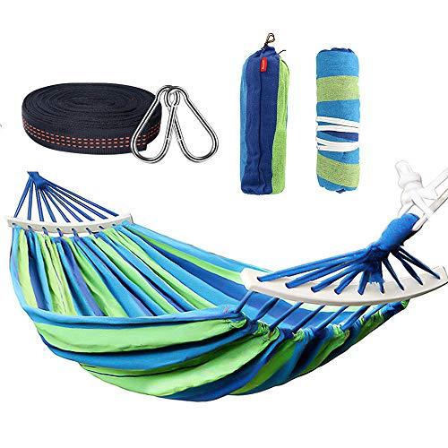 Nakeey Doppel Hängematte 280 x 150 cm, Outdoor Hängematten Stabhängematte für Reise Camping Wandern Garten, tragbar und atmungsaktiv, Belastbarkeit bis 300 kg, Blaue Streifen