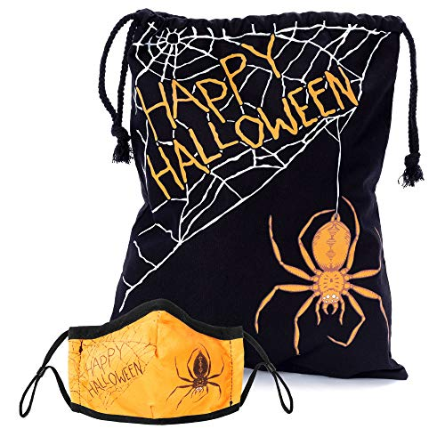 Halloween Spider Web Trick or Treat Bag and Matching Cloth Kids Face Mask Bundle - Cute, Scary, Washable & Reusable - Breathable Cotton Inner, Poly Outer - Trick or Treating Safety Fashion Mask