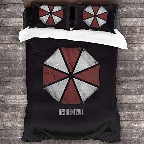 N \ A Umbrella Corporation Juego de edredón de 3 piezas, juego de cama de 86 x 70 pulgadas con 1 juego de edredón y 2 fundas de almohada, suave y cómodo