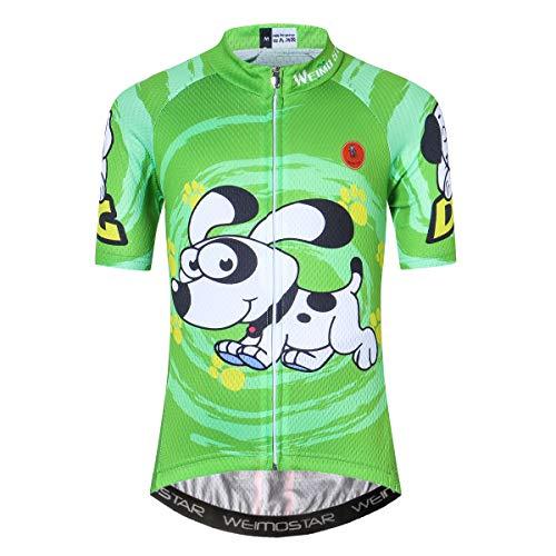 Maillot de ciclismo de manga corta para niños y niñas para jóvenes, color Perro, tamaño S(Height 100-109cm)