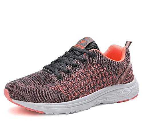 AX BOXING Herren Sportschuhe Damen Laufschuhe Sneaker Atmungsaktiv Leichte Wanderschuhe Trainers Schuhe Größe 36-46 (39 EU, Graues Rosa)