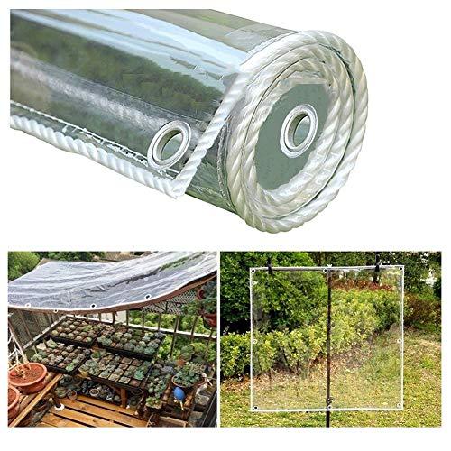 Telone Impermeabile Trasparente con Occhielli, Resistenza allo Strappo in PVC Teli Protettivi Piante per All'aperto Terrazza Copertura Giardinaggio, 400 G/M² LINLINZ
