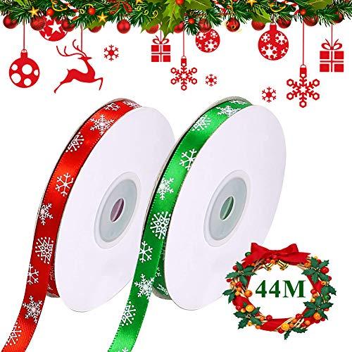 Nastro Raso Natale, 2 rotoli Nastri Natalizi Nastro Regalo di Natale Rosso Verde 10mm con Fiocco di Neve, Totale 44M Natalizie Decorativo Nastri per albero di Natale/Confezioni Regalo/fiocchi/Feste
