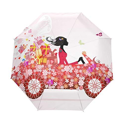 Kleiner Reiseschirm Winddicht im Freien Regen Sonne UV Auto Compact 3-Fach Regenschirm Abdeckung - Mädchen Blumenauto Blumengeschenk