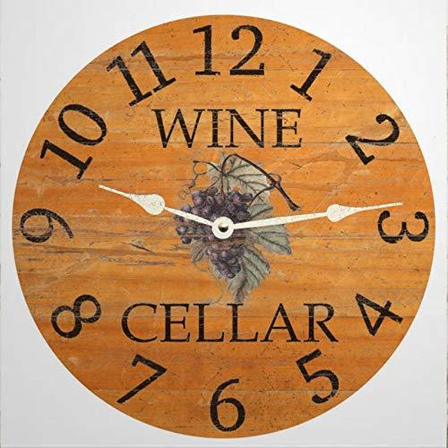 BYRON HOYLE Reloj de pared de madera, para bodega, vino, 30 cm, redondo, estilo rústico, estilo toscano, silencioso, decoración de pared para el hogar, oficina, escuela