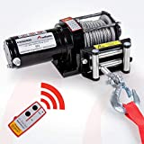 Rotfuchs Elektrische Seilwinde 12V 3000lbs / 1360 kg Offroad Motorwinde Seilzug Elektrowinde 9,2mStahlseil mit Funkfernbedienung Schwarz