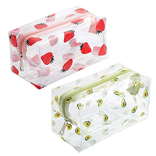 Estuche de 2 lápices de frutas de dibujos animados, bolsa de lápices de fresa, bolsa de maquillaje, bolsa de cosméticos transparente para mujeres, niños, regalo de estudio