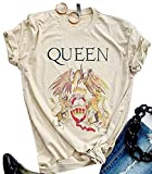 Queen T-Shirt Vintage Freddie Memorial Day Graphic Tees Cute Short Sleeve Tops (M,Beige)