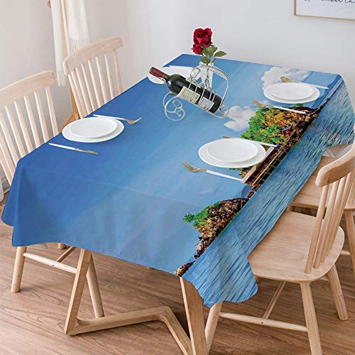 Tablecloth Rectangle Cotton Linen,Island,Photo of Tropic Islands in the Pacific Sea with Vivid Sky Vi,Waterproof Stain-Resistant Tablecloths Washable Table Cover for Kitchen Dinning Party (140x200 cm)