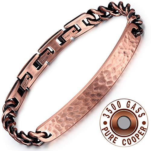 Rainso Herren Einstellbares Magnetisches(3500 Gauss) Armband für Schmerzlinderung Doppelreihig aus 99,95% reines Kupfer Material