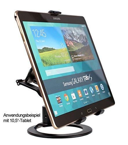 Photecs® Tablet Ständer Pro V1-PR, vielseitig Verstellbarer Tablet Tischständer, Tablet Stativ, Tablet Halterung für iPad und beliebige andere Tablets u. große Smartphones bis 21 cm
