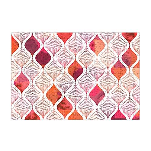 Nicokee Rompecabezas de hojas de arte abstracto acuarela geométrica retro Batik vintage rojo imagen rompecabezas 300 piezas madera rompecabezas juego 35 pulgadas x 10.2 pulgadas