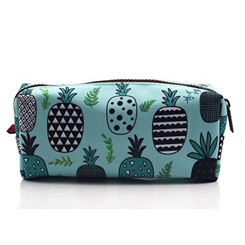 LParkin Large Capacity Canvas Pencil Case Pen Bag Pouch Stationary Case Makeup Cosmetic Bag (Blue)
