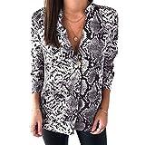 ROPALIA Women's Summer Chiffon Stand Collar Down Shirt Top Fashion pop Python top Shirt Long Sleeve Shirt Gray