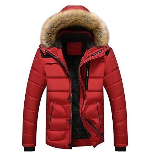 CHENMA Herren Winter warme Puffer gepolsterte Outwear Fleece gefütterte Parka Jacke mit Abnehmbarer Fellkapuze
