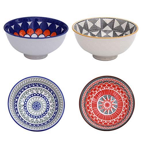 Boho Snack-Schale 4-er Set aus Porzellan - Dip-Schale Deko-Schüssel im einzigartigen orientalischen Design - edle Geschirr-Schüssel für Dipps, Kekse, Desserts, Nüsse, Obst - ca. 500 ml (Design 1)