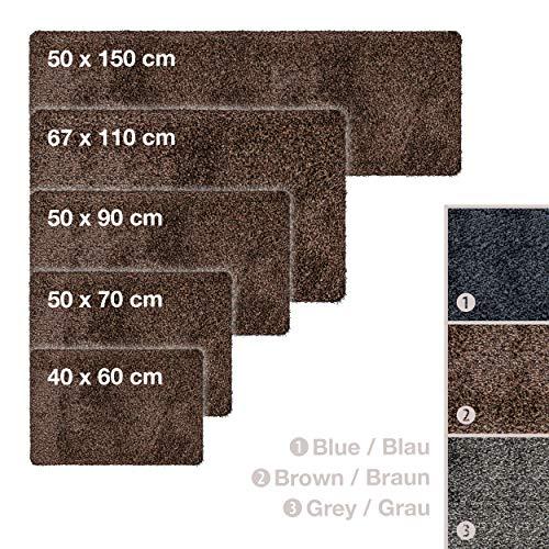 Magic Mat 67x110cm, Braun • Ultra Saugstarke, Waschbare und Rutschfeste Fußmatte aus Mikrofaser • Sehr dünn, passt unter fast jede Türe