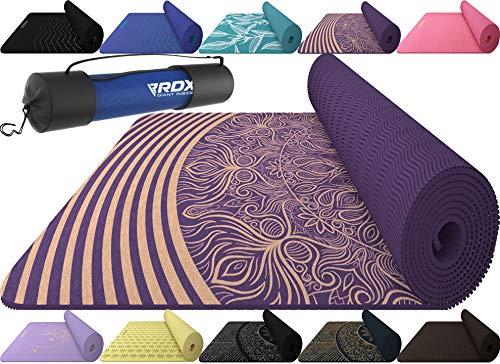 RDX Tappetino Yoga Antiscivolo Fitness Pilates e Ginnastica Mats Eco Friendly Senza Latex Reach RoHS Certificato Cinturino di Tracolla Esercizi Tappeto Attrezzature da Palestra Domestica 183 X 61CM