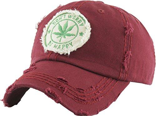 KBVT-1062 BUR Marijuana Leaf Collection Dad Hat Baseball Cap Polo Style Adjustable
