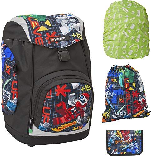 LEGO Bags Nielsen, set di 4 cartelle da 1,2 kg, set per la scuola LEGO NINJAGO Prime Empire con motivo, ca. 40 x 29 x 28 cm, set da 15 litri, con astuccio imbottito, parapioggia e borsa da sport