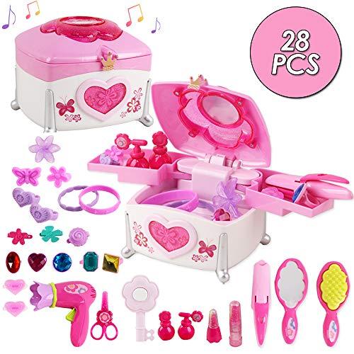 deAO 28-teilig Magisches musikalisches interaktives Rollenspiel Prinzessin Schmuckschatulle mit Schlüssel, Spielzeugfön, Spielzeugglätteisen, Licht, Musik und Zubehör für Kinder