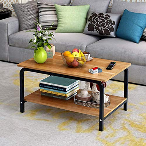 Rectangular Coffee Table with Storage Shelf (Wood)