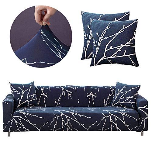 Bikuer Elastischer Sofabezug 4 Sitzer,Stretch Friheten Sofa-Überwürfe Mode Beliebt Klassisch Muster Spandex Sofabezug Für 1 Kostenloser Kissenbezug
