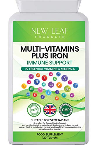 Multivitamin Tablets with Iron - One A Day - 27 High Strength Essential Daily Vitamins & Iron for Men and Women - Vegetarian 4 Months Multi Vitamins - UK Manufactured to GMP Standards,