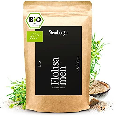 Premium Bio Flohsamenschalen von Steinberger   99% naturrein – 1000 g im wiederschließbaren Standbeutel   Vegan, low-carb, ballaststoffreich, glutenfrei