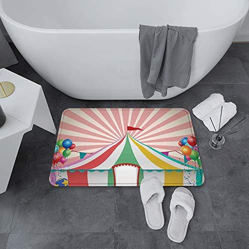 Alfombrilla de Baño Antideslizantes de 60X100 cm,Decoración de circo, carpa de circo vintage ,Tapete para el Piso Lavable a Máquina con Microfibras Suaves Absorbentes de Agua para Bañera, Ducha y Baño