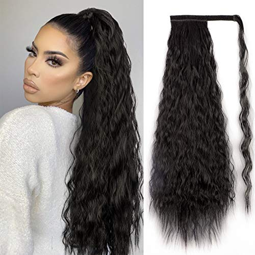Stamped Glorious Long Corn Wave Ponytail Extension Magic Paste Heat Resistant Wavy Synthetic Wrap Around Ponytail Black Hairpiece for Women (26 Inch, 26 Inch-4#)