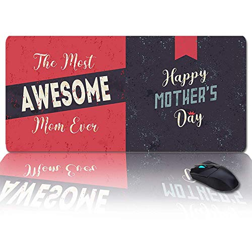 MIGAGA Extra Large Extended Gaming Mouse Pad(35x15 in),Mother's Day Best Mama Ever Stitching Mousepad,Long Non-Slip Rubber Base,XXL Large Keyboard Desk Mat for Desktop/Laptop/Office/Home