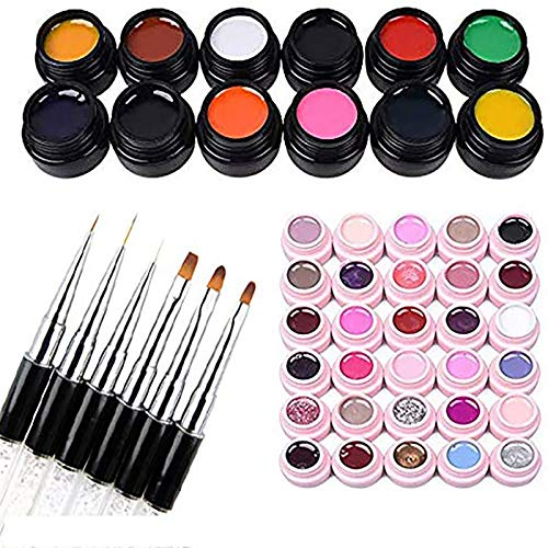 30 colores Gel de uñas semipermanente UV LED para remojo 12X 3D 8g Gel Nail Art Pintura Diseños de gel Pintura Dibujo Gel Soak Off UV LED Manicura con 6X Set de pinceles
