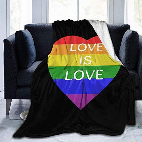 HDAXIA Rianbow Love Is Love Gay Print Cozy Ultra-Soft Flannel Lightweight Sofa Bed Manta para Adultos/Niños Adecuado para Todas Las Estaciones 80'X60'