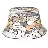 RUEMAT Sombrero Pescador Unisex,Dibujos Animados Lindo Rostro Gatos Vector Doodle,Plegable Sombrero de Pesca Aire Libre Sombrero Bucket Hat para Excursionismo Cámping De Viaje Pescar