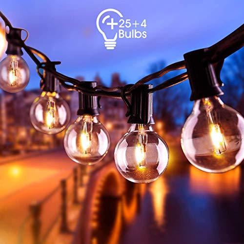 AETKFO Lampadine da Esterno da Appendere,Catena Luminosa Esterno Catena Luminosa di Luci G40 Giardino Stringa Luci Esterno Interno 25+4 Bulbi 9,5m Lampadine per Patio,Matrimonio- Impermeabile IP44