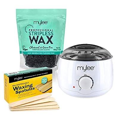 Mylee Professional Waxing Kit with Wax Heater, Hard Wax Beads 500g (Kit + Charcoal & Green Tea Wax)