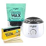 MYLEE Kit de depilación profesional con calentador de cera, perlas de cera dura de 500 g, espátulas (no se necesita tira) + Kit con carbón y té verde