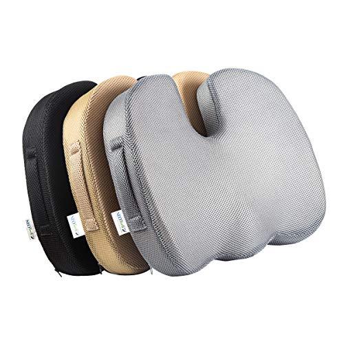 Cojín para Sentarse de 100% Espuma viscoelástica - Ergonómico, reducción de la tensión, Dolor Parte Baja de la Espalda - Silla de la Oficina, Dolor de ciática - Negro