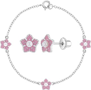 """925 Sterling Silver White Simulated Pearl Pink Flower Jewelry Set for Girls 6"""""""