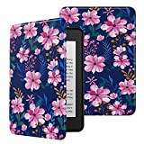 MoKo Case Fits Kindle Paperwhite (10th Generation, 2018 Releases), Premium Ultra Lightweight Shell Cover with Auto Wake/Sleep for Amazon Kindle Paperwhite 2018 E-Reader - Blue & Pink Flower case for kindle paperwhites May, 2021