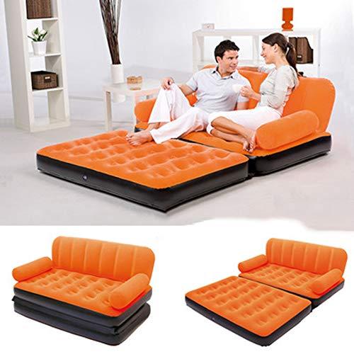 HMY Aufblasbares Sofa, Leder Schlafsofa Outddor Möbel Garten Sofa Schlafzimmer Bewegliches Weiches Bett Wohnmöbel,Orange