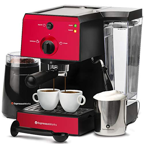 Espresso Machine & Cappuccino Maker with Milk Steamer- 15 Bar Pump, 7 Pc All-In-One Barista Bundle Set w/ Built-in Frother (Inc: Coffee Bean Grinder, Milk Frothing Cup, Tamper & 2 Cups), 1350W (Red)