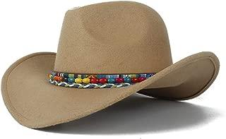 2019 Womens Hats Caps Womens Authentic Western Cowboy Hat Women Men Sun Hat for Women Wool Trilby Hat Roll Up Hat Wide Brim Fascinator Sombrero Cap Size 56-58CM Soft (Color : Khaki, Size : 56-58)