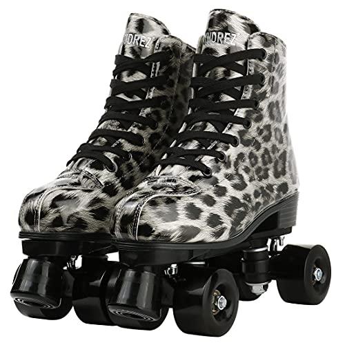 NMVB Patines para Mujer Roller PU Microfibra High-Top Four Roller Sneaker para al Aire Libre/Interior con Bolsa (Color : Leopard Flash, Size : US 7)